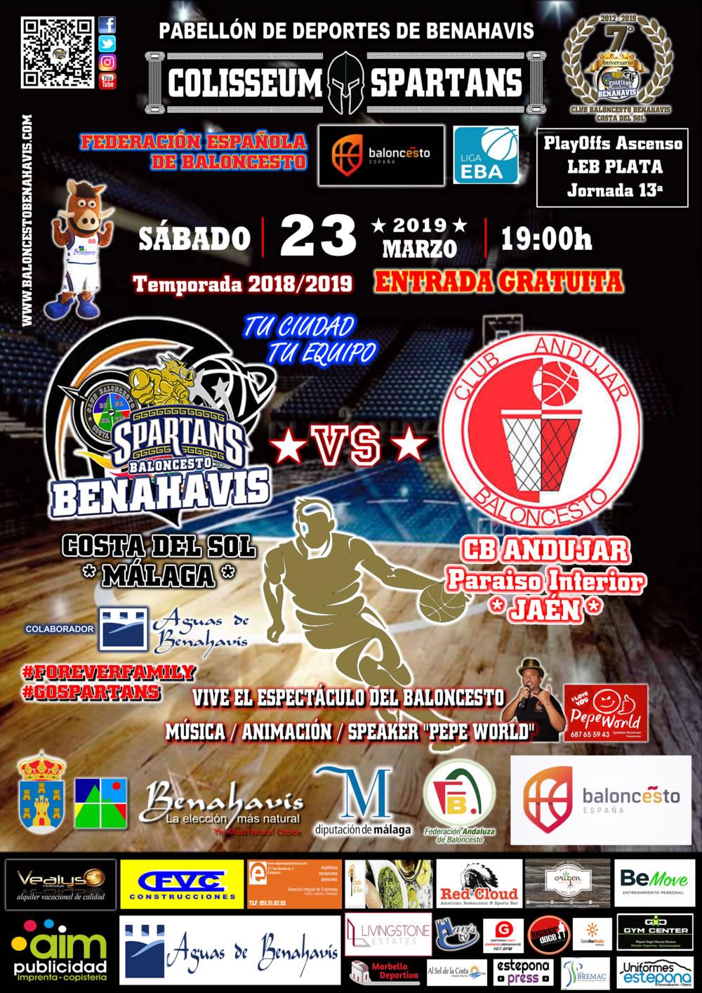 EBA D-Clasificación | J 13ª . 2018/19 | CB Benahavís Costa del Sol vs CB Andujar Jaén Paraiso Interior @ Pabellon de Benahavís