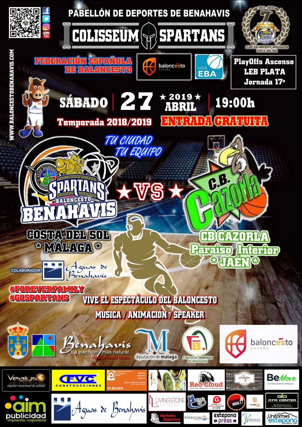 EBA D-Clasificación | J 17ª . 2018/19 | CB Benahavís Costa del Sol vs CB Cazorla Jaen Paraiso Interior @ Pabellón Deportes Benahavís