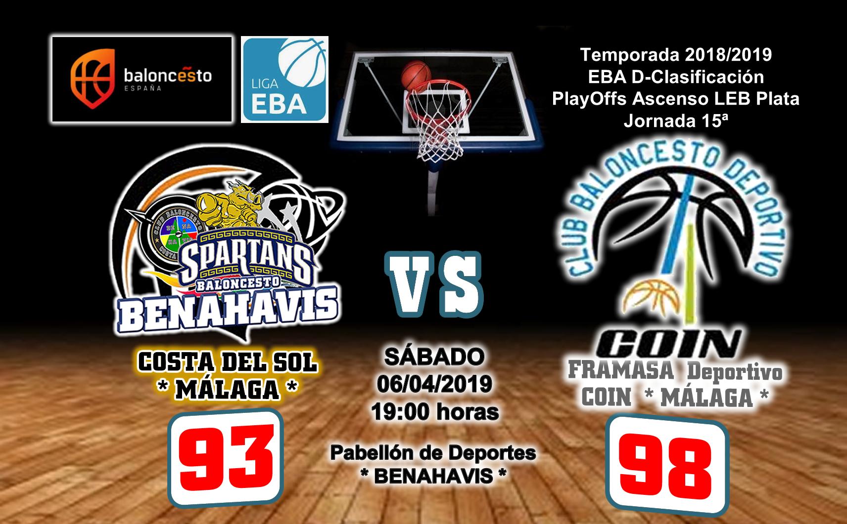 CRÓNICA EBA D 18/19> PlayOffs Ascenso Leb Plata   J-15ª > CB Benahavís Costa del Sol vs Framasa Deportivo Coín