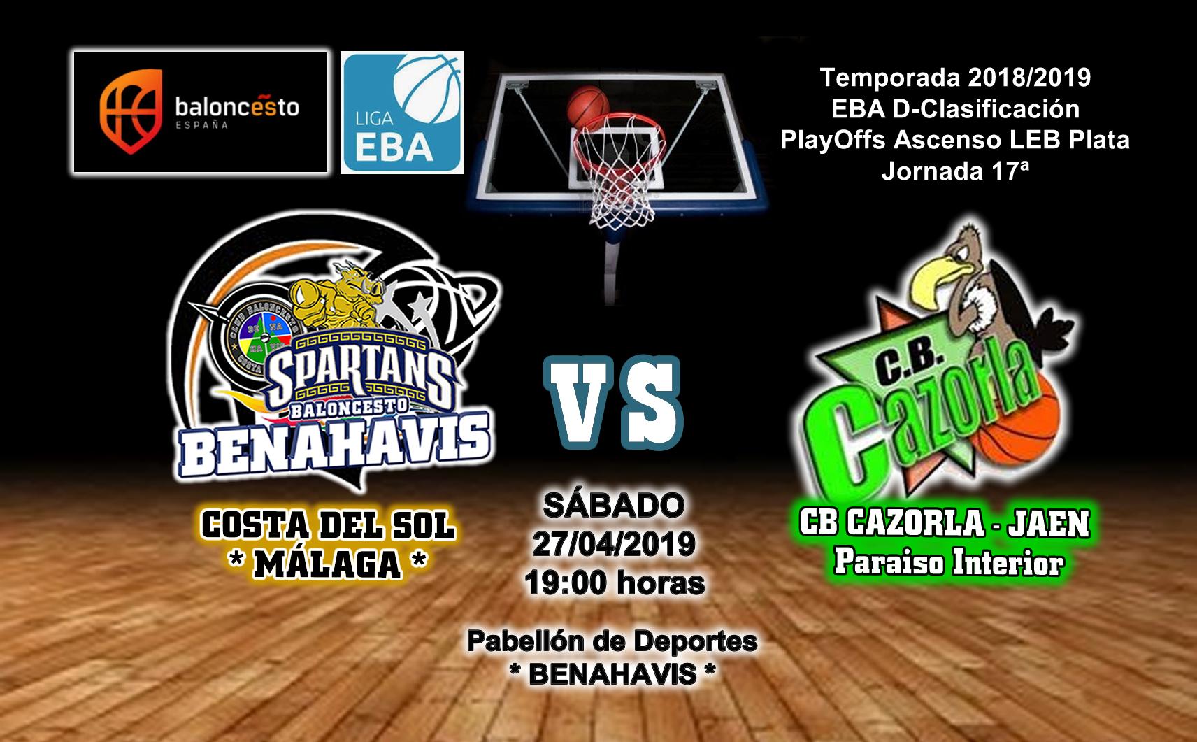 PREVIA EBA D 18/19> PlayOffs Ascenso Leb Plata | J-17ª > CB Benahavís Costa del Sol vs CB Cazorla Jaén Paraiso Interior