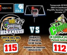 CRÓNICA EBA D 18/19> PlayOffs Ascenso Leb Plata | J-17ª > CB Benahavís Costa del Sol vs CB Cazorla Jaén Paraiso Interior